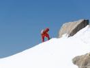 Bergsteiger an der Aiguille du Midi
