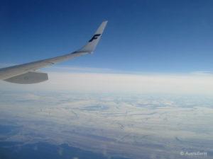 Lapplandflug: Ausblick auf das vereiste Meer.