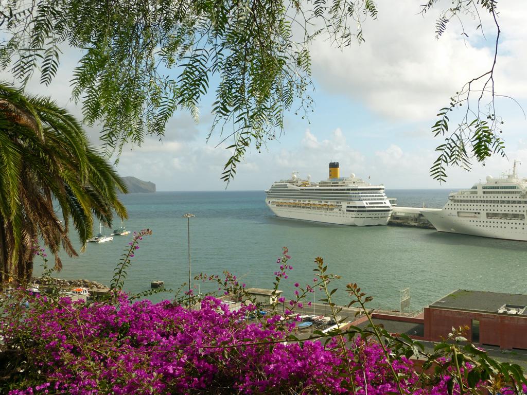 Ausblick vom Park Santa Catarina auf Funchals Hafen
