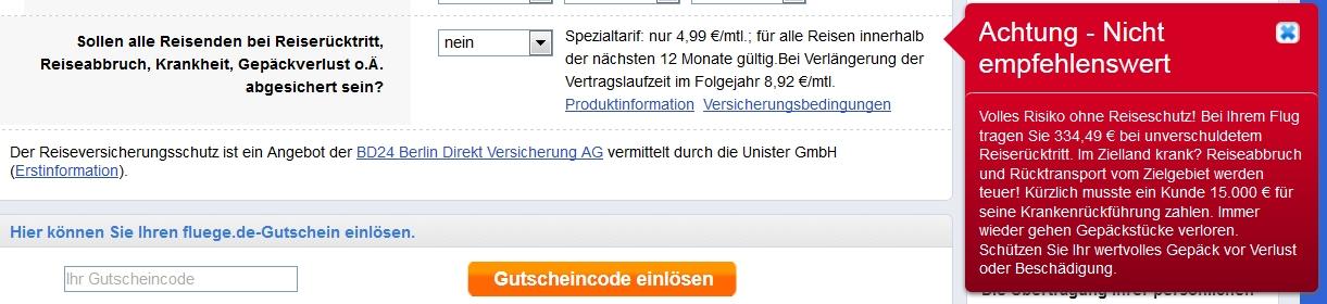 Freche Warnungen bei der Buchung auf fluege.de