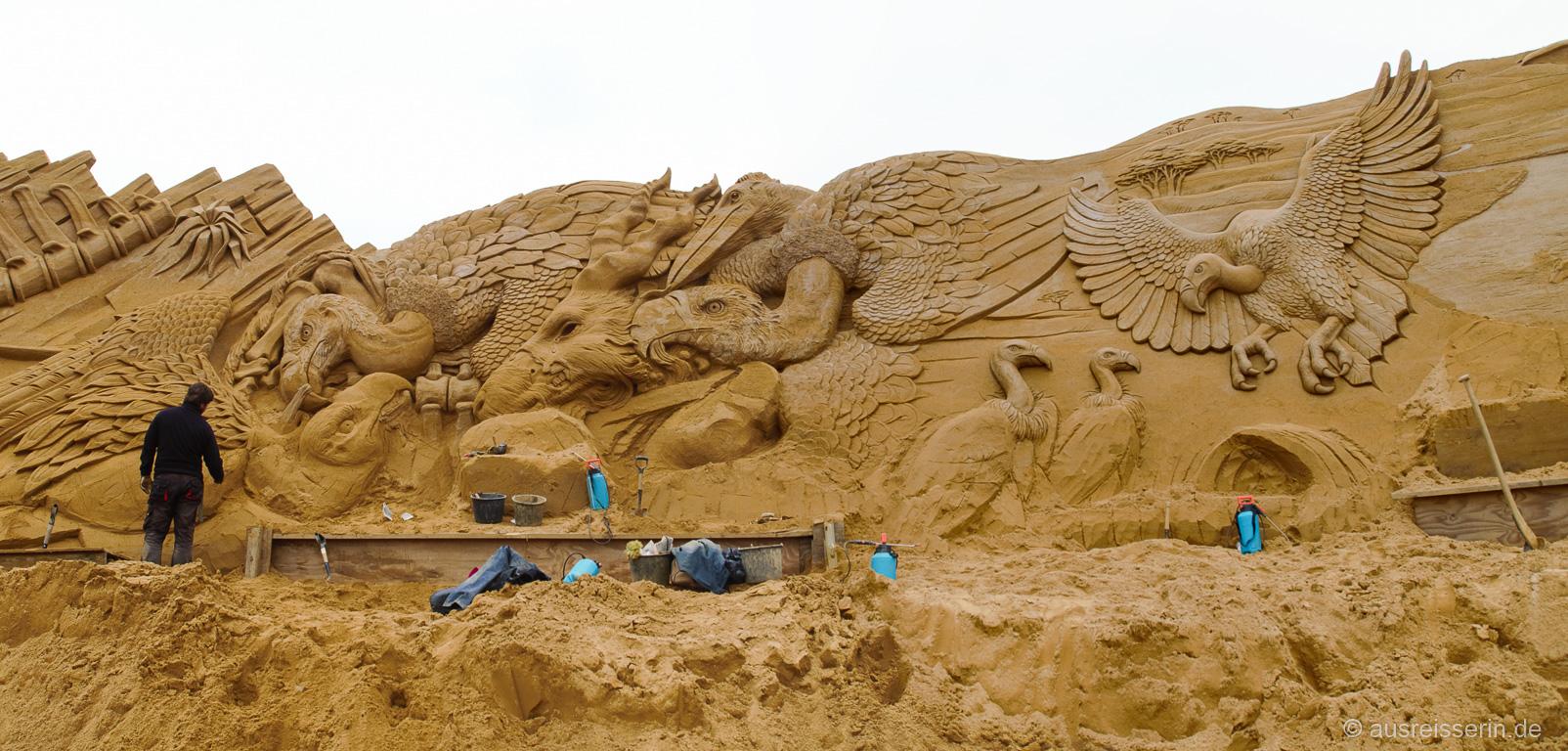 Entstehungsprozess der Sandskulpturen