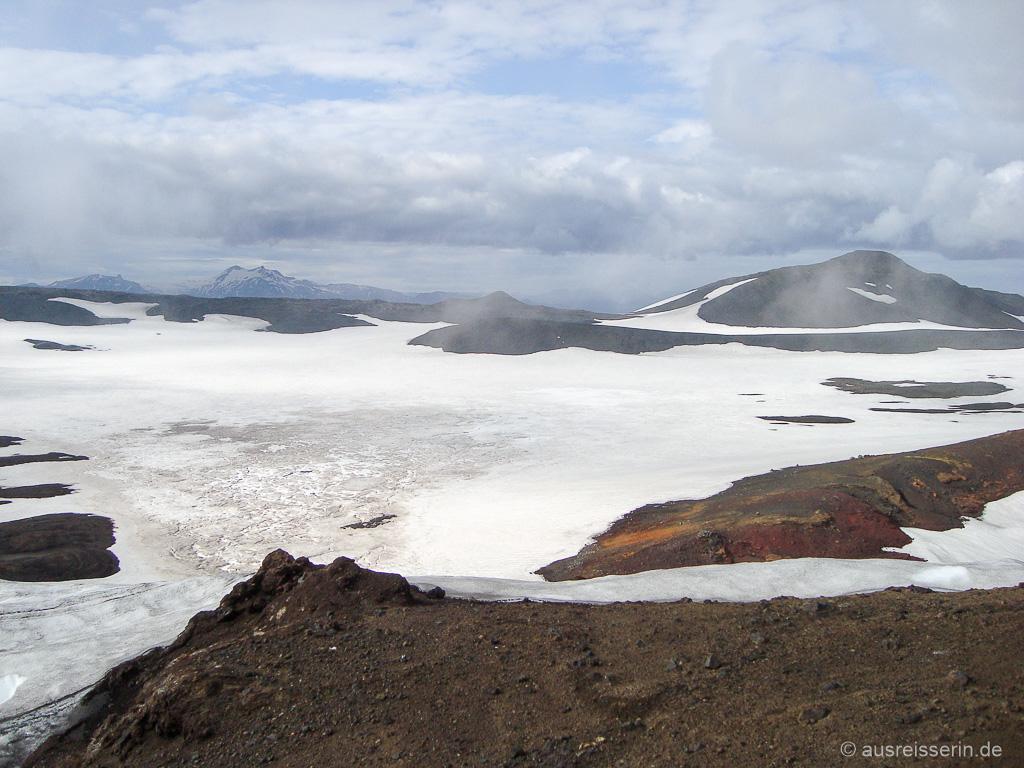 Ausblick von der Fimmvörðuhálskáli