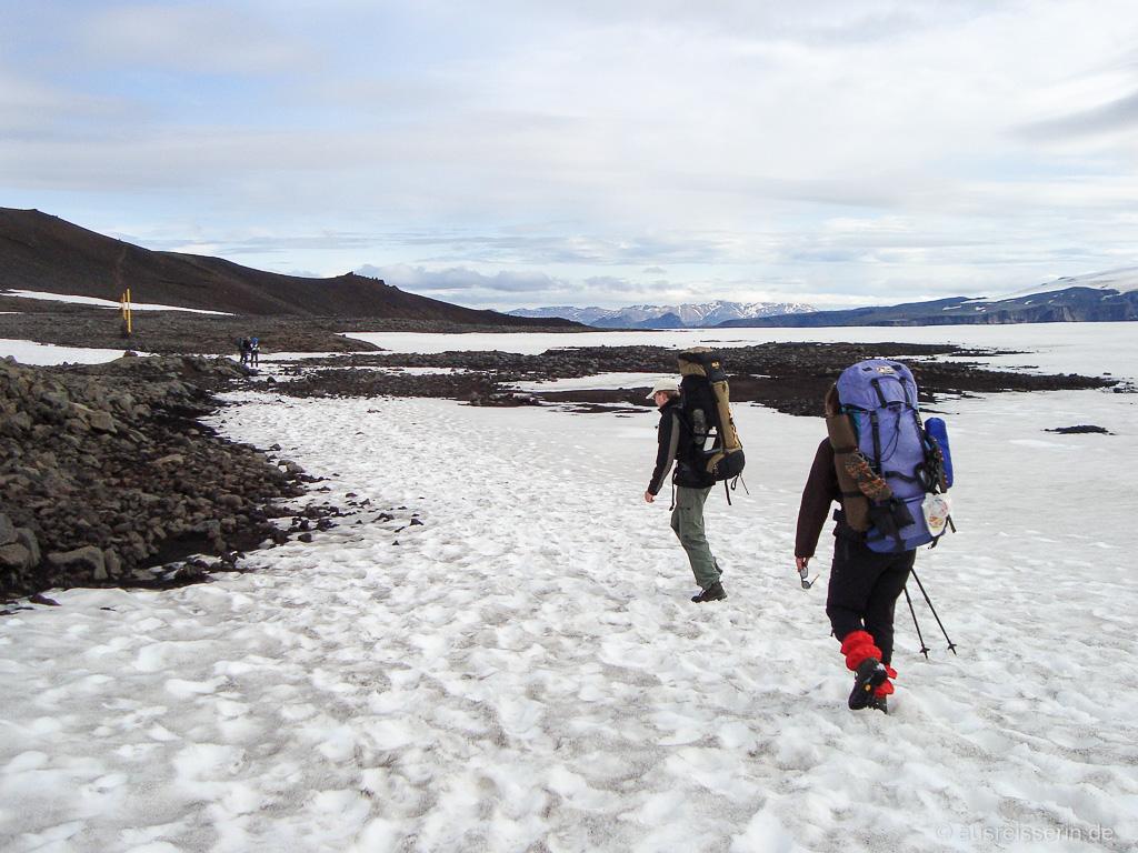 Schneefelder auf dem Fimmvörðuháls