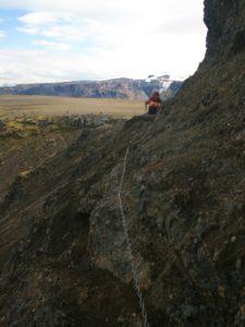 Seilversicherungen beim Abstieg in die Þórsmörk