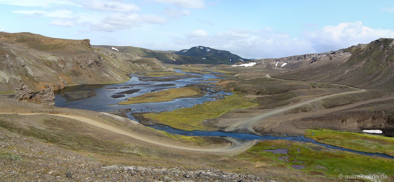 Ausblick kurz hinter der Landmannalaugar