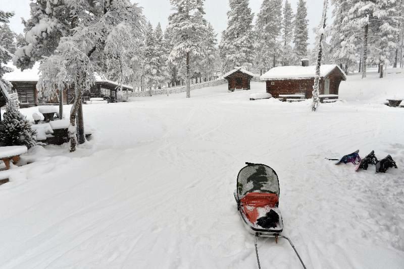 Skilanglauf mit Kind in der Pulka