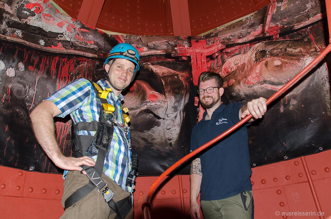 Mein Bloggerkollege Thomas ist startklar für Kletterpartie im Hermann.