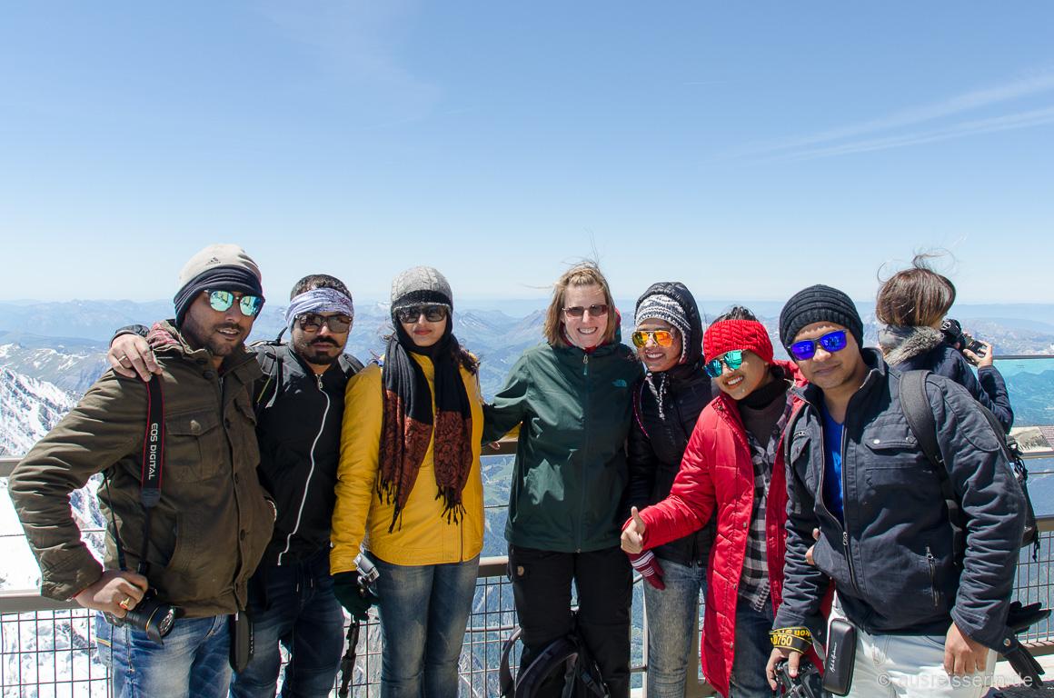 Gruppenfoto auf der Aiguille du Midi