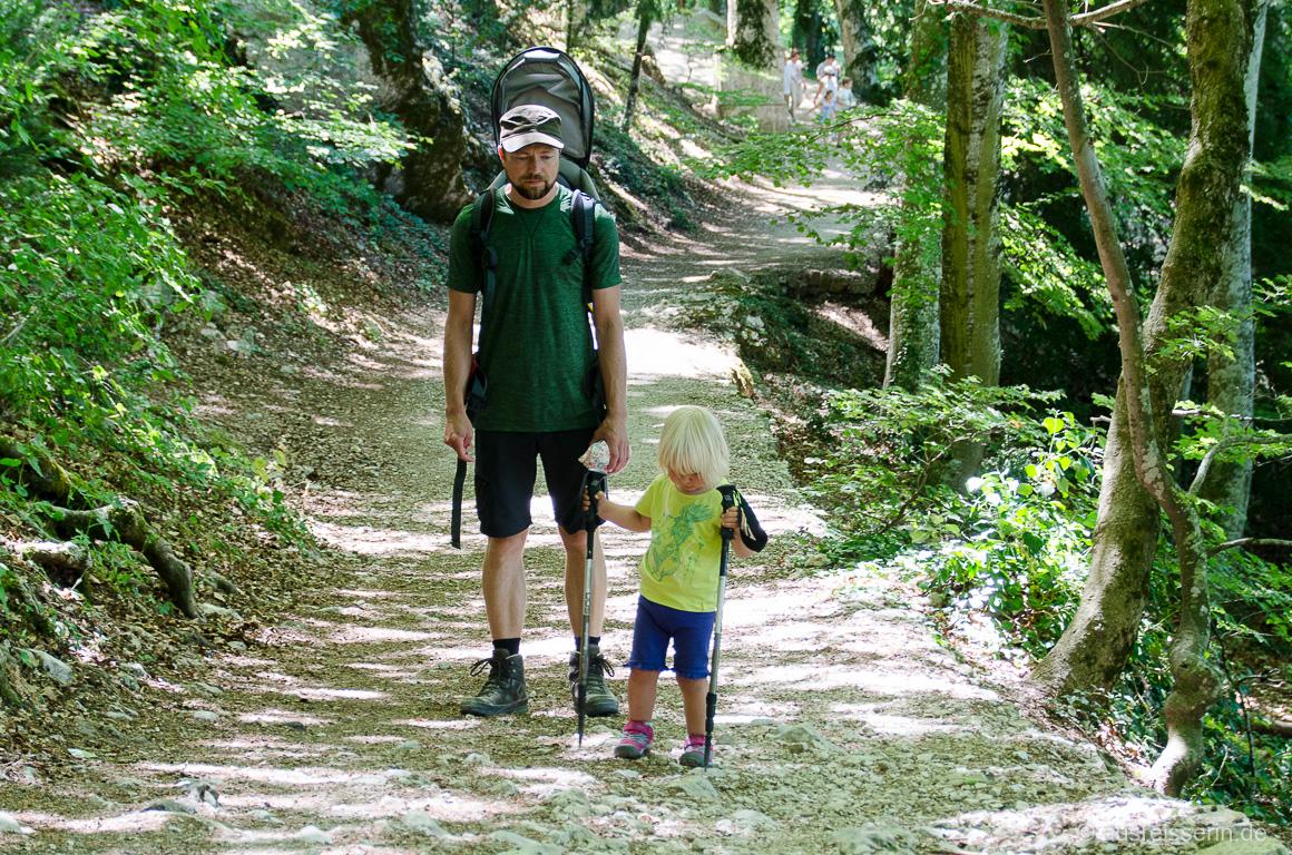 Wanderstöcke sind wichtig beim Wandern mit Kind (auf dem Rücken).