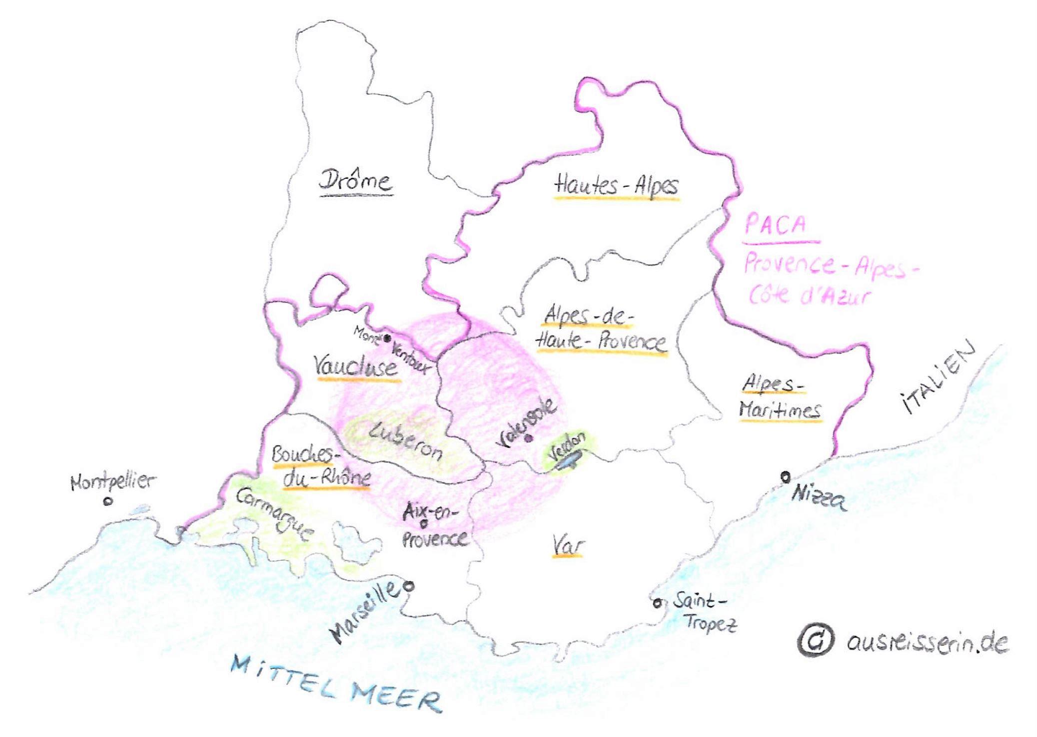 Einordnung der Provence auf der Landkarte