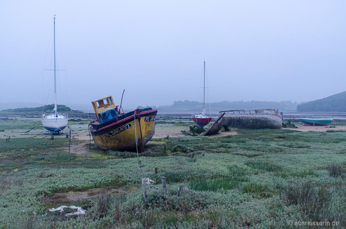Schiffswracks bei Ebbe